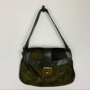 J. Crew Olive Green Calf Hair Shoulder Bag Purse